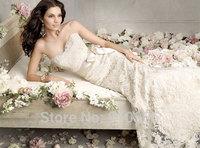2014 FairOnly New Stock Elegant Strapless Sash Sweep Train Lace Mermaid Wedding Dress