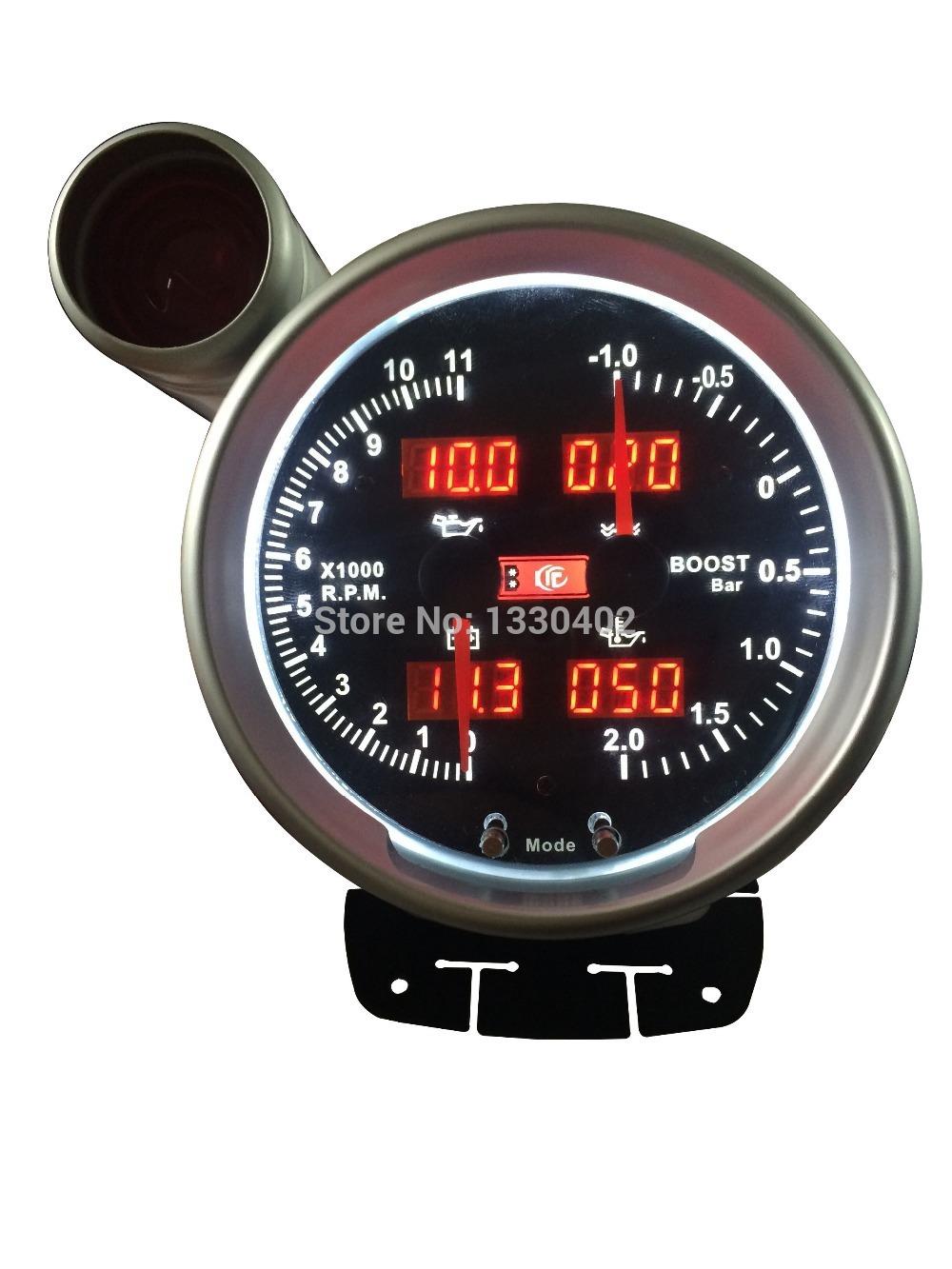 """5 """"auto calibre 6in1 tacômetro função múltipla digital de auto modificado bitola métrica temperatura da água volt temperatura do óleo RPM tem TYPE R(China (Mainland))"""