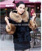 Free shipping PLus size faux fox fur coat women fashion luxury rabbit fur wool cape lady  fur long jacket custom , from Korea