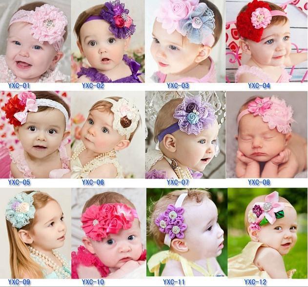 2014 Wholesale shabby flowers satin ribbon roses rhinestone fabric flowers for headbands baby girl hair accessories 10pcs/lot(China (Mainland))