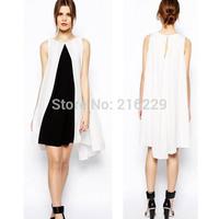 2014 Newest Summer Fashion Elegant  Slim Black White Patchwork Women Casual Dress WQZ14012OL