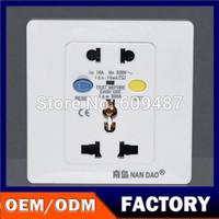 NanDao Brand 220V/10A Wall Socket Leakage Protection Socket  Free Shipping
