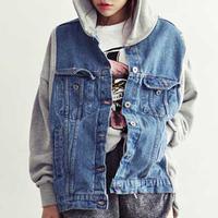 Korean Style Vintage Jeans Jacket Women Denim Hooded Patchwork Loose Jean Baseball Sportwear Jackets Free Shipping WWJ086