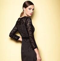 2015 Spring  Fashion Women Stripes Lace Dress 3/4 Sleeve Elegant O-neck Patchwork Black Slit Plus size Dress