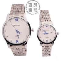 Hot new 2014 fashion Rhinestone Quartz full stainless steel  waterproof steel band couple's wrist watch wholesale LB8803
