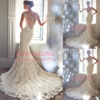 Mermaid wedding dress 2014 sheer back deep v neck romantic lace marriage dress bridal gown vestidos de novia Y21432