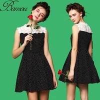 High Waist Skater Dress  2014 Summer Women Spot Print Dress with Lace Collar Bib atacado roupas femininas Vintage Pleated Dress