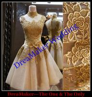 WXG002 Free Shipping Hot Sale High Quality Custom Made Venice Lace Fashion Vintage Short Prom Dresses 2015