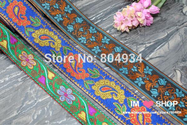 Free Shipping mixed set Woven Jacquard Embroidered Ribbon 9 yards paisley flower blue green orange(China (Mainland))