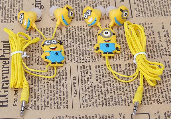 90% OFF cartoon Minions headphones 3.5mm headset head phone In-ear earphone Earbuds for iphone Samsung fone de ouvido minions