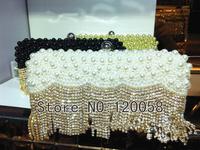 Newest tassel crystal rhinestone pearl handmade women clutch diamond beaded evening bag wedding bridal handbag small purse bag