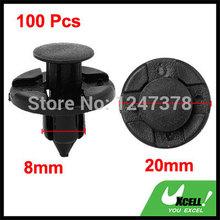 100 Pcs/lot 8mm Dia Hole Black Plastic Push Fastener Rivets Clips for Nissan(China (Mainland))