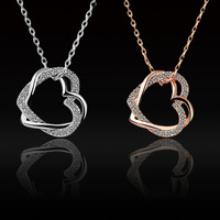 Fashion Women Lady Girl Elegant Graceful Short Double Heart Shape Jewelry Metal Diamante Clavicle Chain Necklace