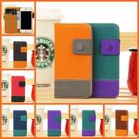 New fashion 5S Contrast dual color PU leather wallet case for iphone 5 S flip cover mobile phone bags cases for apple iPhone5