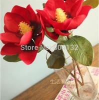 "10Pcs 44cm/17.32"" Length Beige/Red Artificial Flowers Simulation Single Magnolia Real Touch PU Kapok Wedding photograph Props"