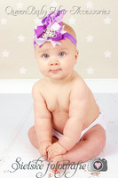 24pcs/lot  NEW Ribbon Bow Flower with Tiara Matching Feather Baby Headbands