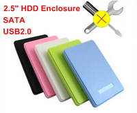 Freeshipping  SATA+USB 2.0 HDD Enclosure External Storage Device Hard Drive Hdd Disk 1tb Case 5 Colors Available