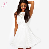 2014 Summer New Pure White Lace Skater Dresses Online with Pleated Skirt LC2902