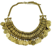 2014 Vintage Metal Statement Necklace Multilayer Coin Tassel Necklaces Pendants Antique Hollow Indian Jewelry  Collar Necklace