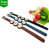 2014 New Fashion 3pcs Color Mix For women men Top Genuine leather DIY fit 18mm snap button jewelry bracelet leder armband