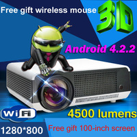 Free Gift Screen and  Mouse 4500Lumen 1080P Android WiFi Smart Led 3D Home theater TV Projector Projektor Full HD Video Beamer