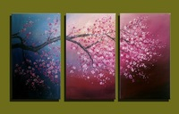 Abstract modern 3 panel canvas wall art Hand painted acrylic cherry blossom oil painting on canvas for bedroom living room deco