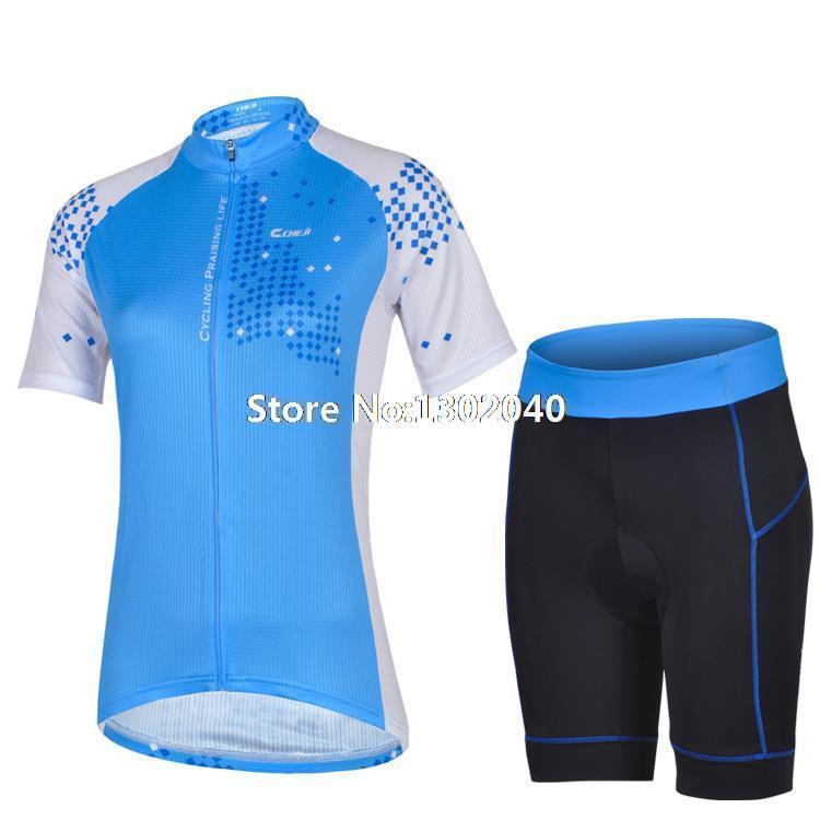 2014 do sexo feminino Pro roupas de ciclismo + ciclismo shorts de definir azul padrão de estilo roupas de ciclismo / jersey bib shorts(China (Mainland))