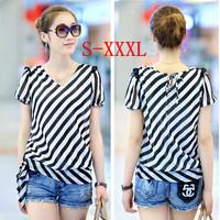 Plus Size S-XXXL Camisas Femininas New 2014 Summer Blusas Fashion Short Sleeve Loose Striped Chiffon Women Blouses Shirts J517