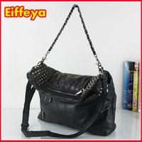 Hot Sale Patchwork Foldable Women Leather Handbags Cross Body Shoulder Bags Fashion Messenger Bags Black Rivet
