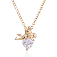 Hot Sales New Fashion 18K Gold Plated God of Love Cupid with Heart Crystal/Zircon Elegant necklaces&pendants