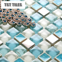 11 sq.ft per lot Italy mosaics blue crackle ceramic glass kitchen backsplash tiles bathroom silver steel shower tub wall tiles(China (Mainland))