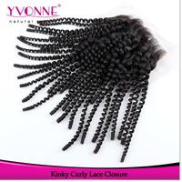 Kinky Curly Lace Closure,100% Human Hair Virgin Peruvian Hair Closure 4x4,Aliexpress Yvonne Hair Products,Natural Color