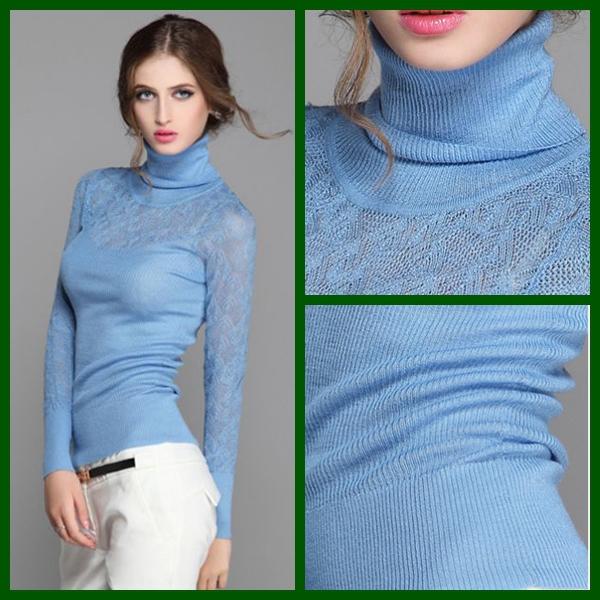 [해외]2014 여성 우아한면 100 % 스웨터 튜닉 바지 니트 얇은 그리드..
