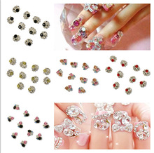 40Pcs Shiny Metallic Rhinestones Crystal Phone 3D Nail Art Tips Decorations DIY(China (Mainland))