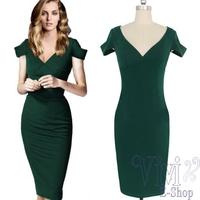 New 2014 Fashion Vintage Green Pencil Dress V-Neck Short Sleeve Office Formal Celeb Dresses Plus Size