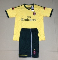 14/15 KID AC milan white soccer jersey+embroidery logo+patch+short soccer younth uniforms +can custom names&numbers