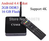 Free shipping 2G/16G 4K TV BOX 2.0Ghz CSM8 s802 quad core tv box Android 4.4 Kikat Smart set top box with external 5G Antenna