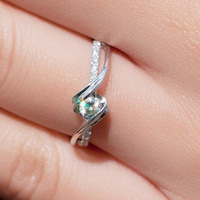 FREESHIPPING CPP 0.2 TOTAL CARAT 100% NATURAL DIAMOND 14K 585 WHITE GOLD ENGAGEMENT RING FOR WOMEN