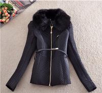Winter Desigual Coat Women's Coats 2014 Winter Cotton Coat Women Slim Sashes Turn-down Collar Broadcloth Ladies Coats E 15
