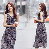 Summer dress women fashion vintage bohemian casual dress plus size long Slim chiffon print dress women clothing party dresses