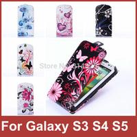 New Fashion Elegant Flower Slim Vertical Flip Leather Cover Case For Samsung Galaxy S5 i9600 Free Screen Flim and Stylus