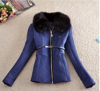 Women's Coats 2014 Winter Cotton Coat Women Slim Winter Desigual Coat Sashes Turn-down Collar Broadcloth Ladies Coats E 14
