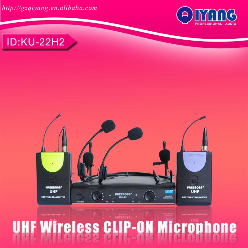UHF Wireless Microphone System DJ & Karaoke 2 Lapel 2 Headset microphone (2 Bodypack Transmitter) consumer electronics KU-22H2(China (Mainland))