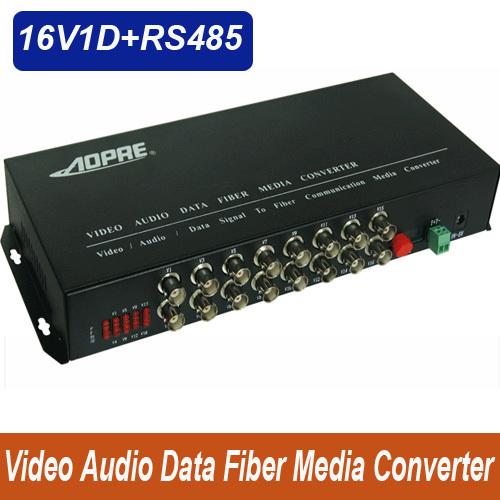 High quality 1pair 16v1d 16channel video/data/Audio fiber optic media converter,RS485,up 20KM,FC interface,Anti-lightning!(China (Mainland))