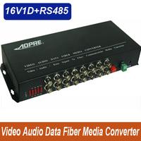 High quality 1pair 16v1d 16channel video/data/Audio fiber optic media converter,RS485,up 20KM,FC interface,Anti-lightning!
