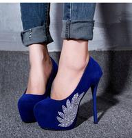 2014 new hot sale women pumps.thin high heel platform round toe  rhinestone sexy night club women shoes ,drop shipping XWD213