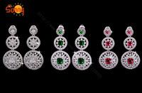 Luxury full rhinestone zircon earrings bridal earrings long design sparkling quality jewelry earrings royal
