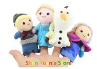 Frozen Finger Puppet Frozen Anna Else Kristoff Olaf Finger Dolls Stuffed Toys Baby Toys  Plush 4pcs/set part  Free shipping