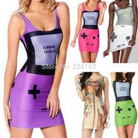 2014 new fashion summer  women dress short dress sexy dress tight hip pack sheath dress sleeveless MIni digital print dress tank