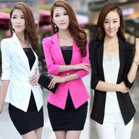 Lowest 2014 Women small suit blazers female Korean style three quarter women blazer feminino plus size S-XXL blazers coats 20